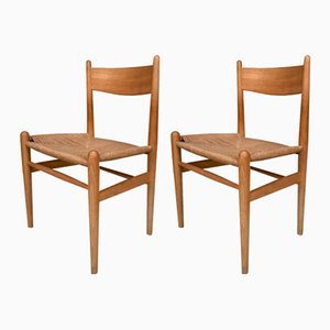 Danish Beech and Paper Cord Model CH36 Side Chairs by Hans J. Wegner for Carl Hansen & Søn, 1960s, Set of 2
