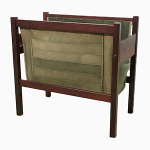 Danish Leather and Rosewood Magazine Rack, 1960s