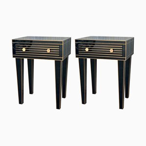 Black Crystal and Brass Nightstands by Zenza, Set of 2