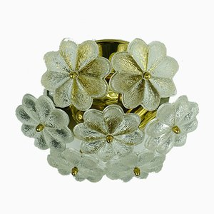 Mid-Century Glass Grass and Brass Flower Ceiling Lamp by Ernst Palme for Ernst Palme, 1960s