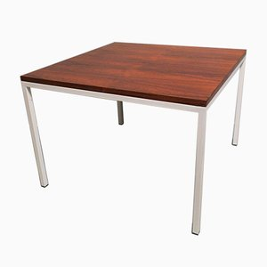 Mid-Century Rosewood Coffee Table with White Lacquered Metal Legs, 1960s