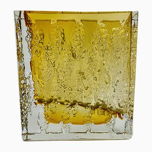 Square Amber Crystal Vase, 1960s