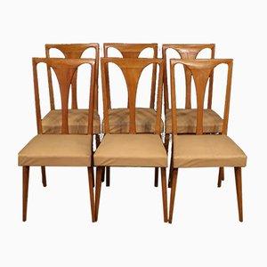 Italian Cherry Wood Lounge Chairs, 1960s, Set of 6