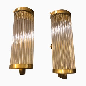 Mid-Century Italian Brass and Glass Sconces, 1970s, Set of 2