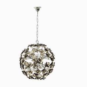 Italian Chromed and Smoked Glass Chandelier, 1970s