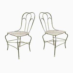 Antike Gartenstühle aus Schmiedeeisen, 2er Set