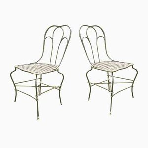 Antique Wrought Iron Garden Chairs, Set of 2