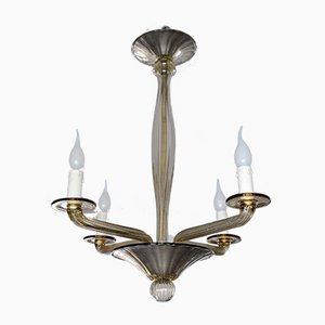 Smoked Glass Chandelier from Officina Bucella, 1940s