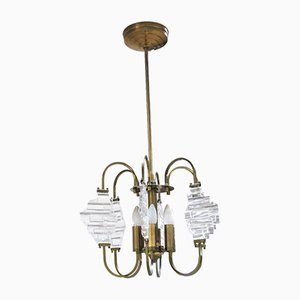 Brass and Glass Ceiling Lamp in the Style of Angelo Brotto, 1950s