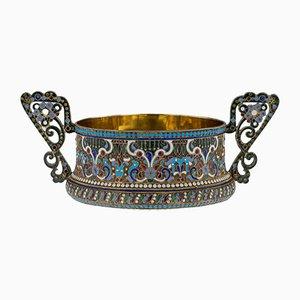 Antikes russisches Set aus massivem Silber & emaillierter Zuckerschüssel und Zange von Grigoriy Sbitnev, 1910er, 2er Set