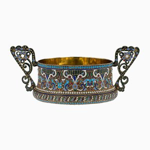 Antique Russian Solid Silver & Enamel Sugar Bowl and Tongs Set from Grigoriy Sbitnev, 1910s, Set of 2