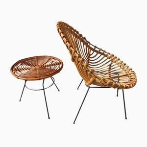 Italienische Rattanei Stühle und Kleines Tisch Set, 1950er, 2er Set
