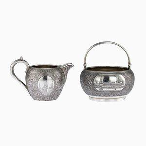 Antike Russische Silber und Niello Zuckerdose und Krem Krug von Vasiliy Semenov, 1892, 2er Set