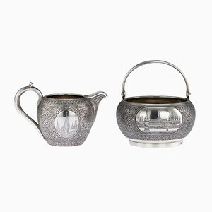 Antique Russian Silver and Niello Sugar Bowl and Cream Jug from Vasiliy Semenov, 1892, Set of 2