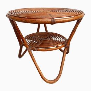 Großer Niedriger Italienischer Rattan Tisch, 1950er, 2er Set
