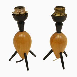 Vintage Teak Tripod Table Lamps, Set of 2