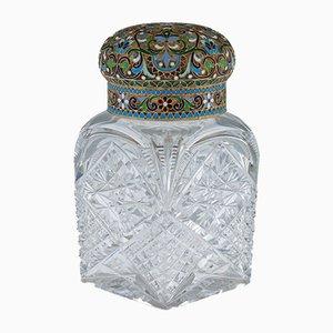 Antiker Russischer Teebehälter aus versilbertem & emailliertem Teak von Pavel Americanchev, 1910er