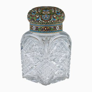 Antique Russian Silver-Gilt & Enamel Tea Caddy from Pavel Americanchev, 1910s