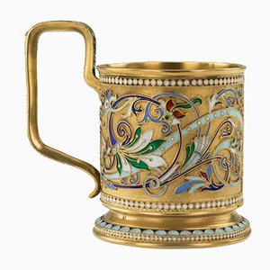 Antique Russian Solid Silver-Gilt Enamel Tea Glass Holder from Vasily Agafonov, 1900s