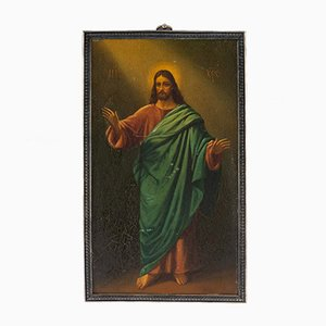 Antike russische Christus Pantokrator Icon aus Zinn von 7th Artel, 1910er
