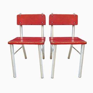 Chaises Hautes Rouges et Blanches, Allemagne, 1960s, Set de 2