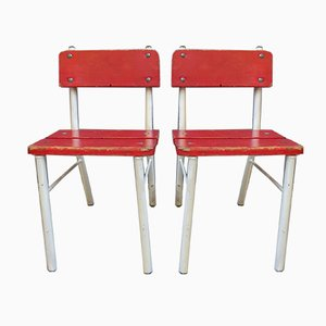 German Red and White High Chairs, 1960s, Set of 2