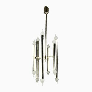 Mid-Century Italian Chrome 12-Light Chandelier, 1970s
