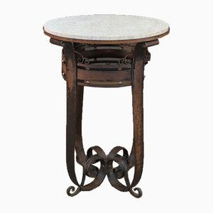 Art Deco Metal and Marble Pedestal Table, 1930s