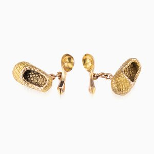 Antique Russian Faberge 56 Gold Lapti & Spoon Cufflinks from Vladimir Soloview, 1900s, Set of 2