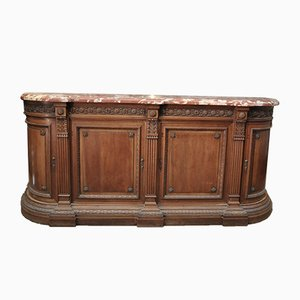 Antique Louis XVI Style Walnut and Marble Low Sideboard, 1900s