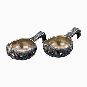 Antique Russian Solid Silver & Enamel Kovsh Set from Ivan Saltykov, 1890s, Set of 2