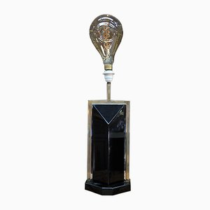 Brass and Lacquered Wood Design Table Lamp, 1970s