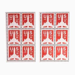 US Air Mail Poster von Think Big !, 1980er, 2er Set