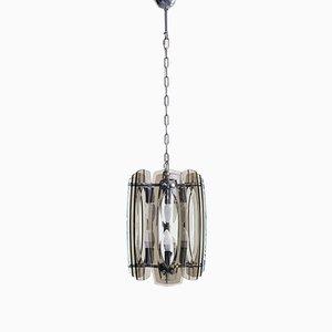Lampada a sospensione in plexiglas e metallo cromato attribuita a Max Ingrand per Fontana Arte, anni '70