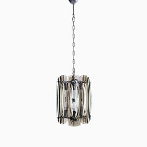 Plexiglass and Chrome-Plated Metal Hanging Lamp Attributed to Max Ingrand for Fontana Arte, 1970s