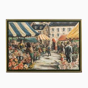 Vintage Parisian Market Scene Painting