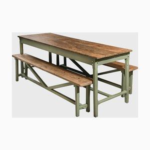 Tisch mit Sitzbänken, 3er Set