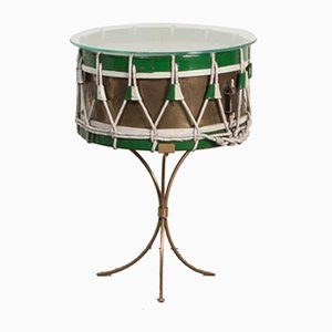 Green & Brass Drum Table