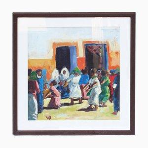 Peinture par Miftah El Kheir, Marrakech, 1970s