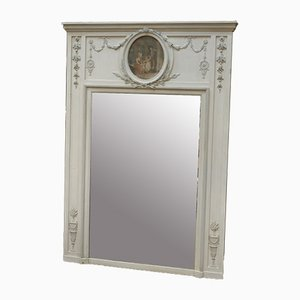 19th Century Louis XVI Style Pinewood and Glass Overmantel Mirror with Oil Painting