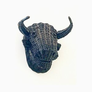 Vintage Rattan Decorative Bull Head, 1950s