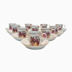 Limoges Porcelain Mocha Cups and Saucers Set from La Seynie, 1960s, Set of 20