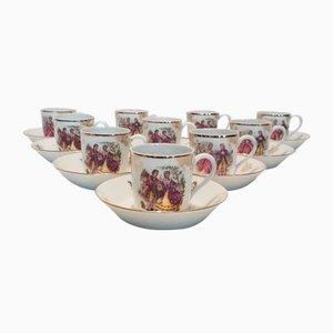 Set de Tasses et Sous-Tasses à Mocha en Porcelaine de Limoges de La Seynie, 1960s, Set de 20