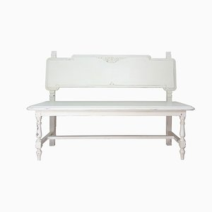 Spanish White Decapé Walnut Bench, 1940s