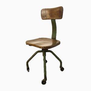 Sedia da scrivania vintage industriale in ferro e legno di Trau Torino, anni '50