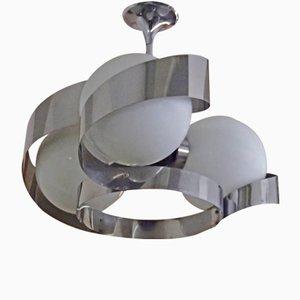 Aluminum Ceiling Lamp with 3 White Balls, 1970s