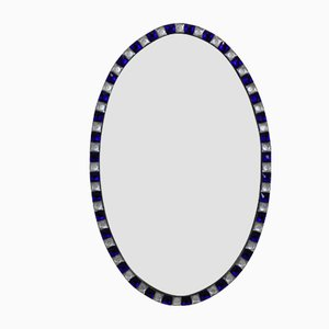 Vintage Georgian Style irish Mirrors with Rock Crystal and Cobalt Blue, Set of 2