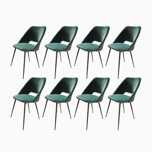 Chaises de Salle à Manger Tonneau en Velours Vert par Pierre Guariche, 1960s, Set de 8