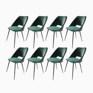 Green Velvet Tonneau Dining Chairs by Pierre Guariche, 1960s, Set of 8