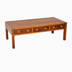 Antique Military Campaign Style Yew Coffee Table, 1950s